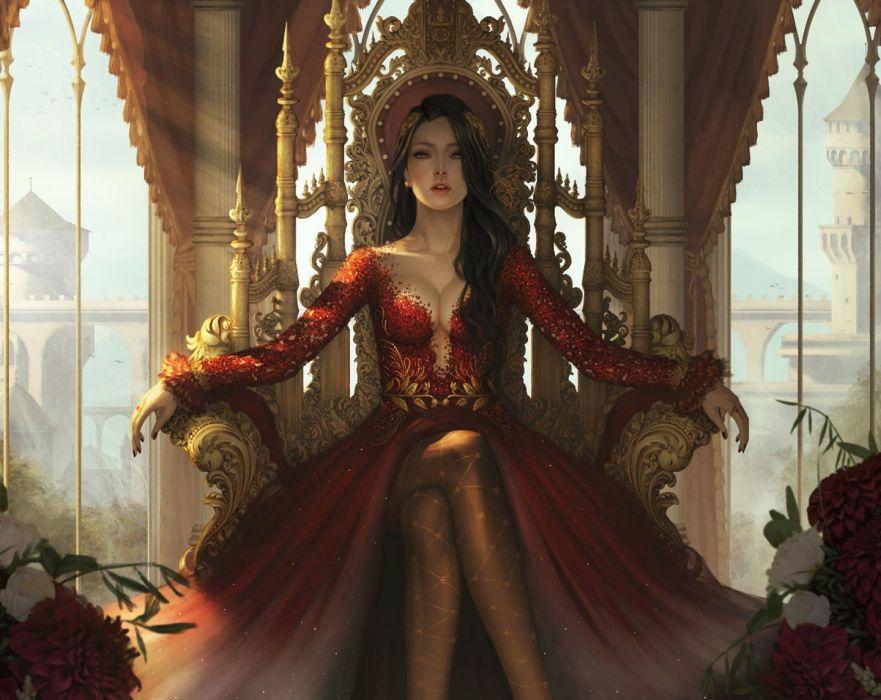InaWong artstation fantasy original beautiful quen red dress long hair wallpaper