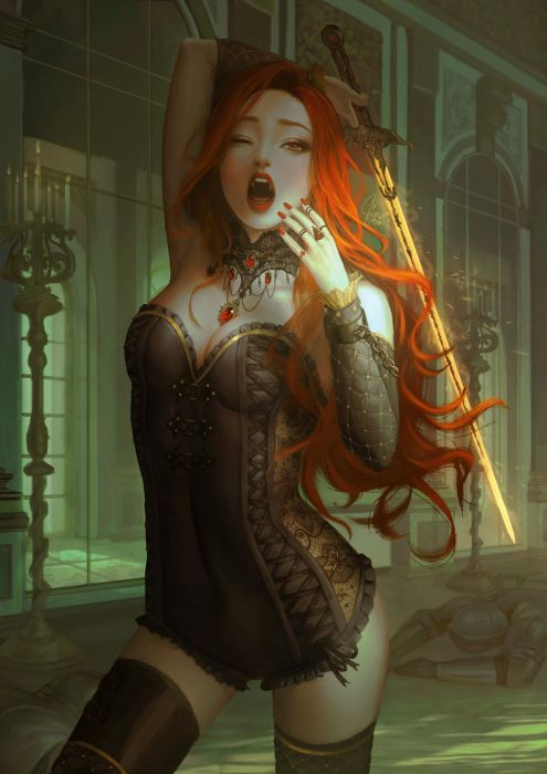 fantasy original beautiful red hairvampiredone artstation inawong wallpaper