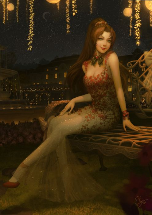 artstation inawong fantasy original beautiful red hair dress girl wallpaper