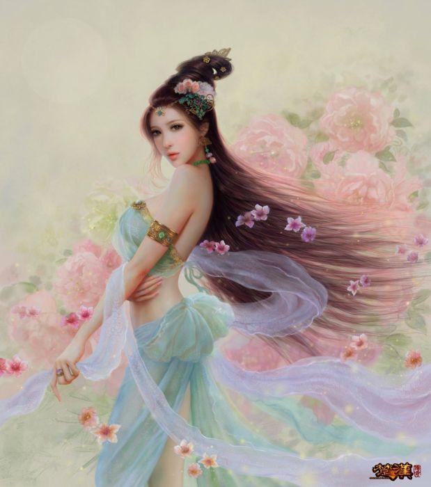 fantasy original beautiful woman woman Ruoxin Zhang artstation illustration wallpaper
