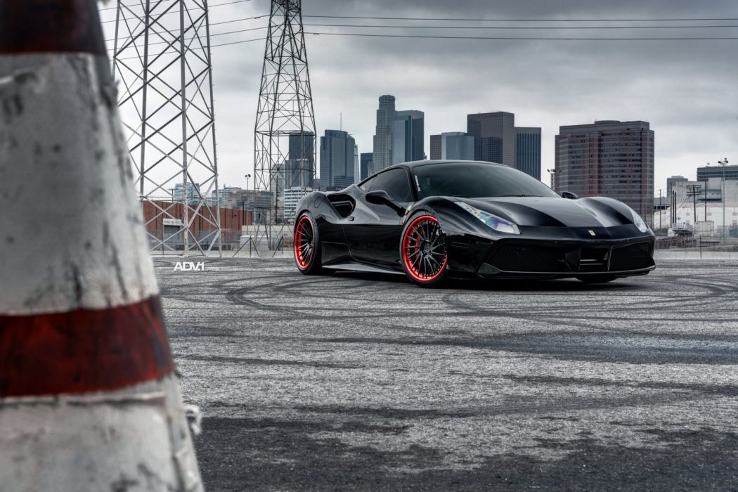 Ferrari 488 GTB cars adv1 wheels black wallpaper