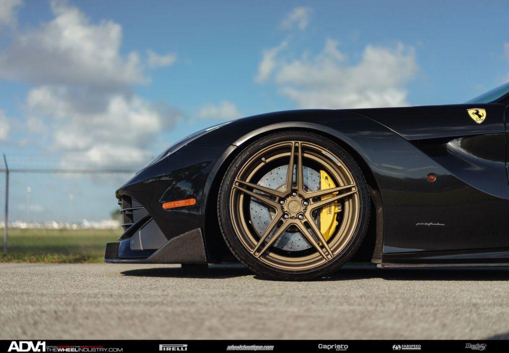Black Ferrari F12 Berlinetta cars adv1 wheels black wallpaper