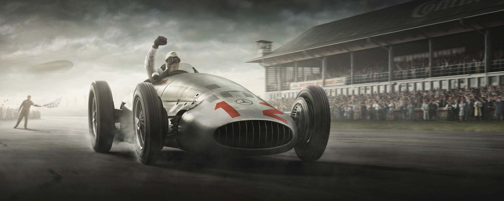 Silver Arrows Project 3D Cartoon Pre War Animation Race Cars Gran Prix Mercedes-Benz HD wallpaper