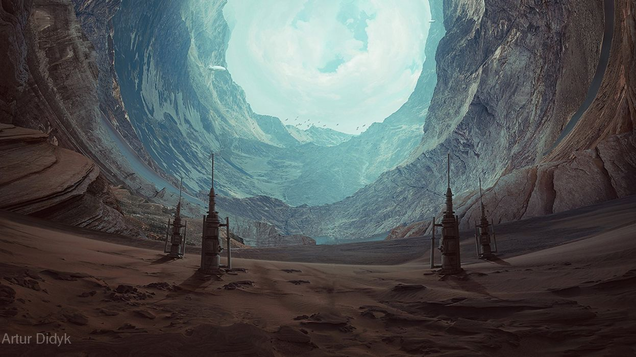 photoshop manipulation paradise circle perspective desert world forest mountain river wallpaper