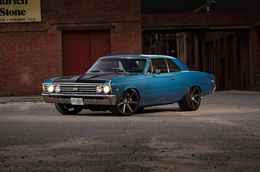 Big Block 1967 Chevrolet Chevelle cars blue wallpaper
