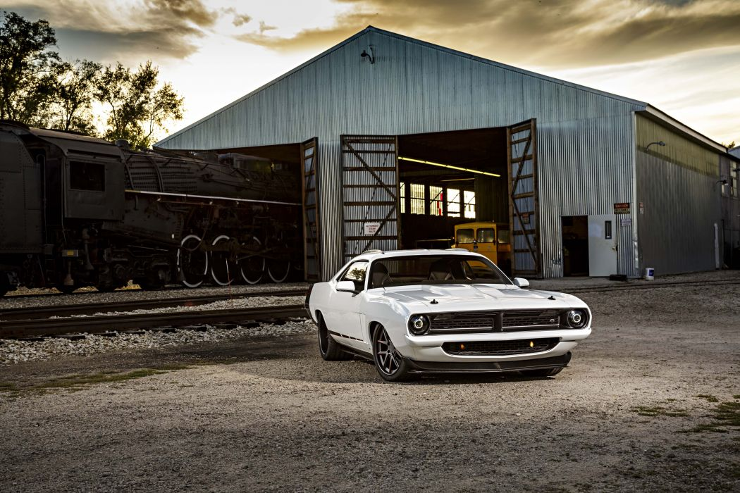 1970 Plymouth Cuda Street Machine cars white wallpaper