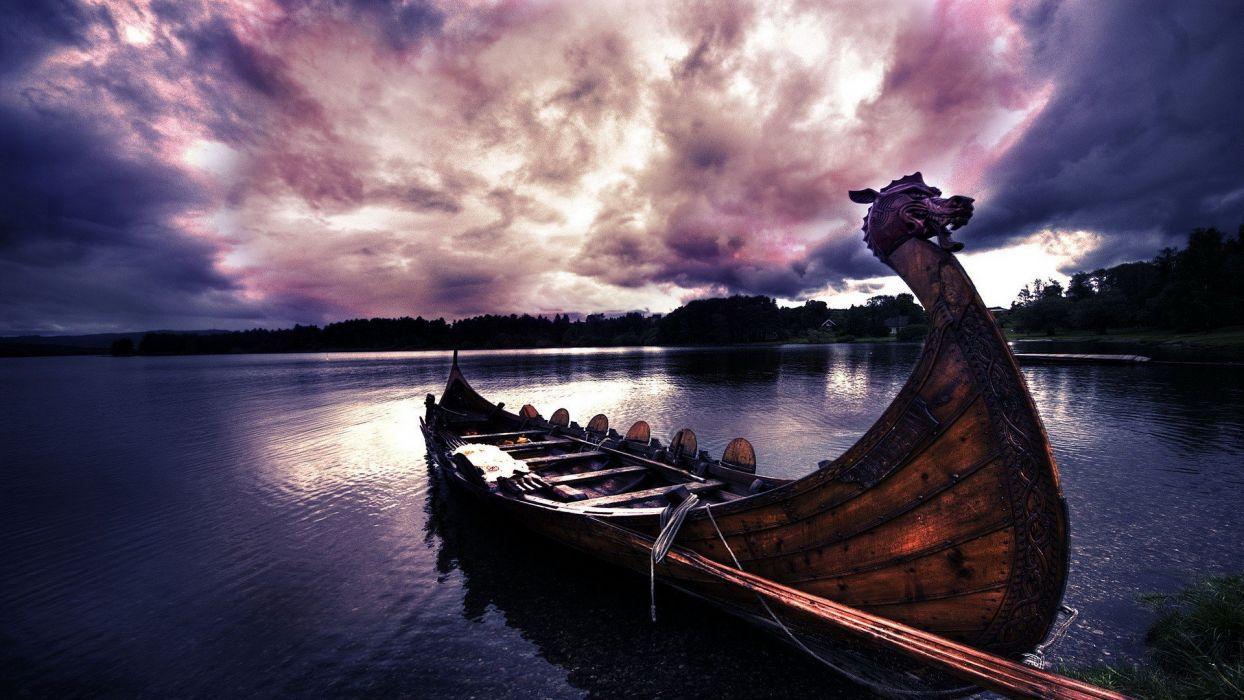 barco vikingo remos wallpaper
