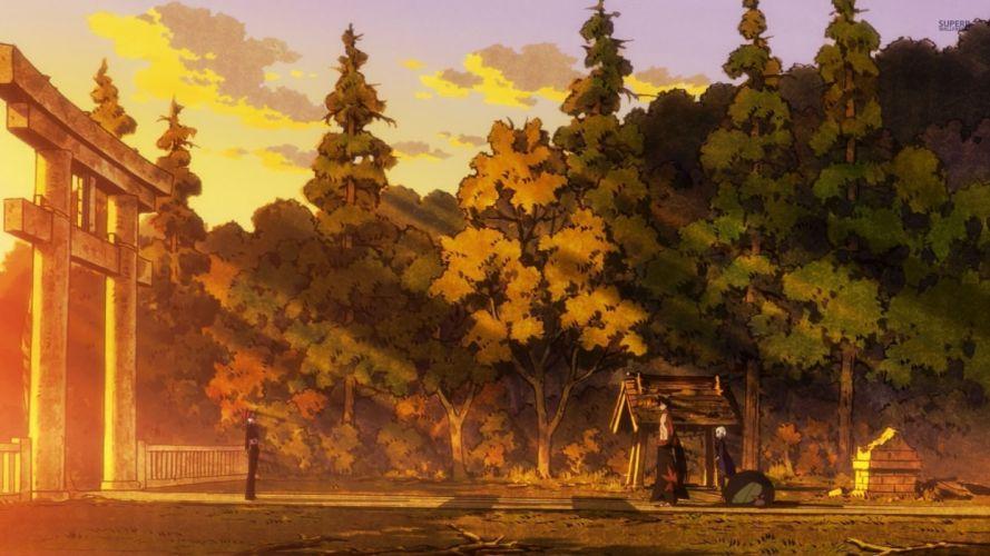 Katanagatari anime series sunset tree wallpaper