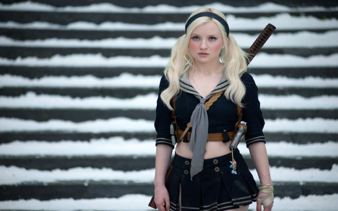 Blondes Emily Browning Katana Movies Pigtails School Uniforms Sucker Punch Women wallpaper
