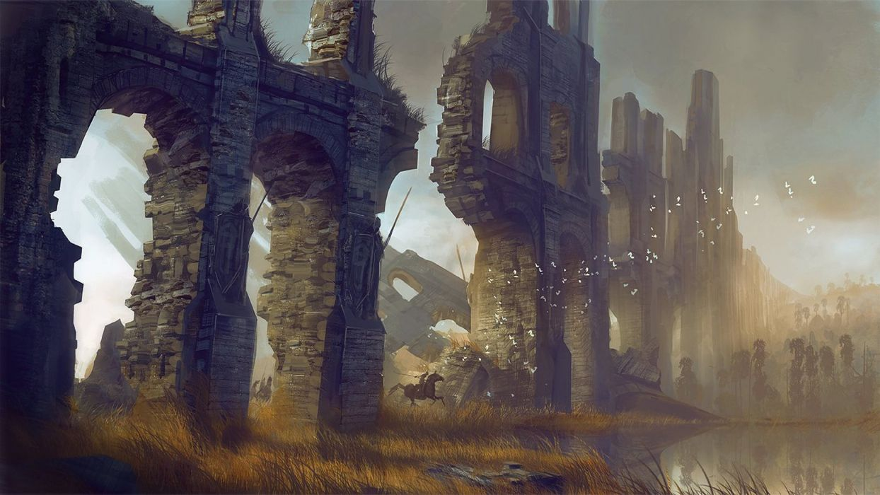 apocalyptic ascalon concept art dawn fantasy art guild Guild Wars Guild Wars 2 paint paintings post ruins sunset wall wars wallpaper