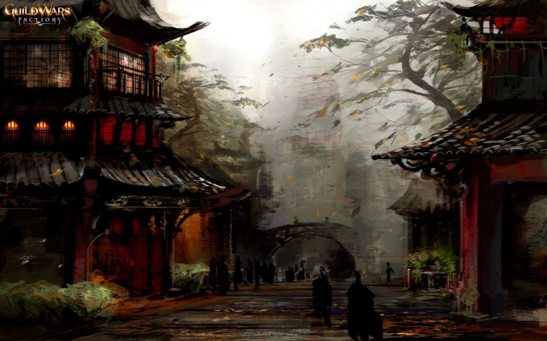 Asian architecture China Chinese guild Guild Wars katana nightfall ninjas red samurai video games wars wallpaper