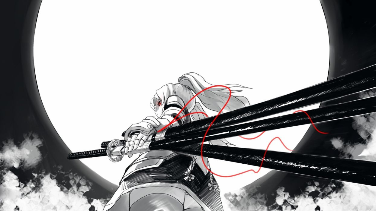 anime girls armor black and white clouds fkey glowing eyes grayscale katana long hair looking back low-angle shot Moon original characters red eyes wallpaper