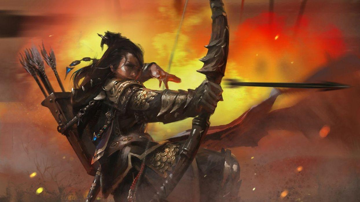 archery armor arrows battles bow weapon brunettes explosion fantasy fantasy art long hair warriors women wallpaper