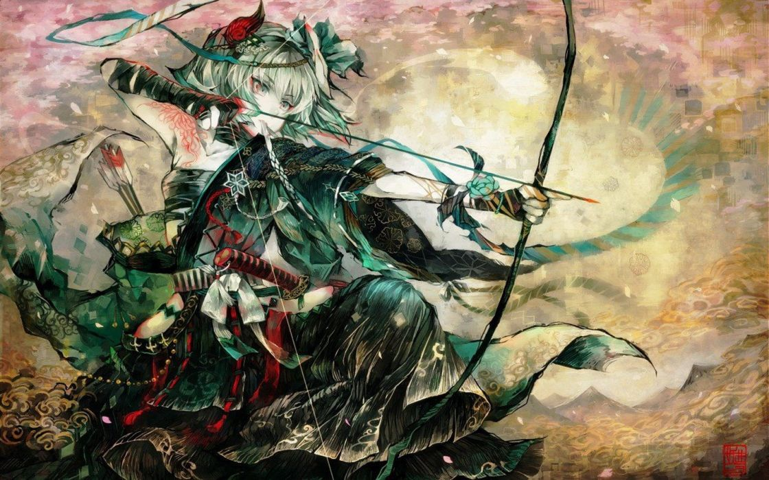 Anime Girls Archers Arrows Bandages Bow Weapon Dress Flowers Hair Band Hair Ornaments wallpaper
