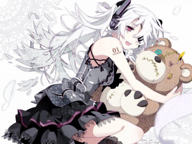 headphones vocaloid dress hatsune miku long hair red eyes twintails white hair anime girls wallpaper