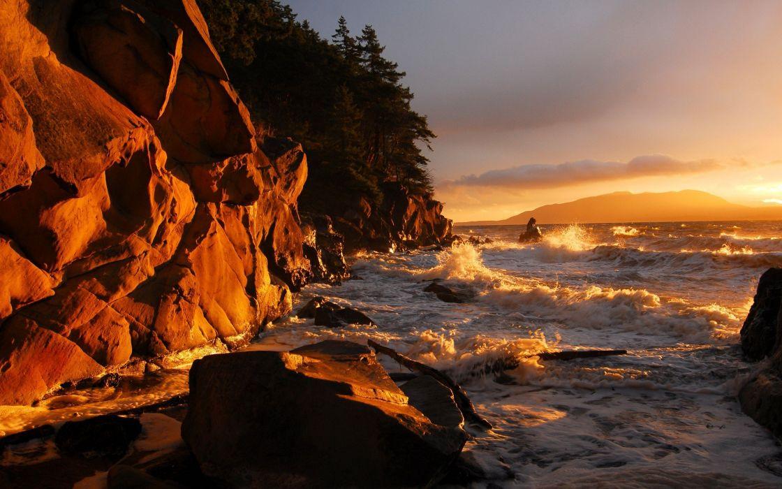 cliff landscape nature sea waves wallpaper