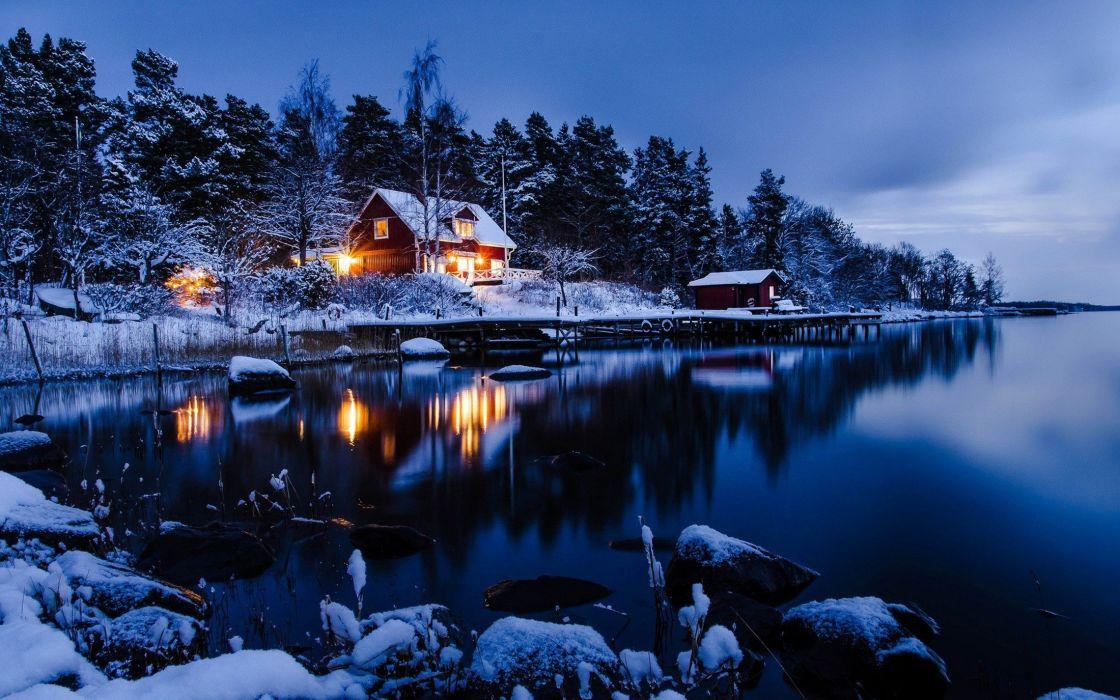 nature lake house night light wallpaper