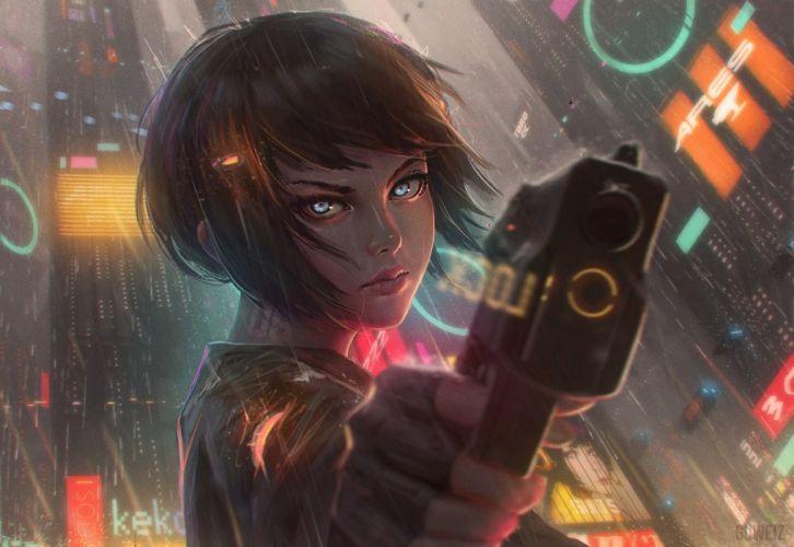 cyberpunk water rain anime anime girls short hair gun Weapon wallpaper