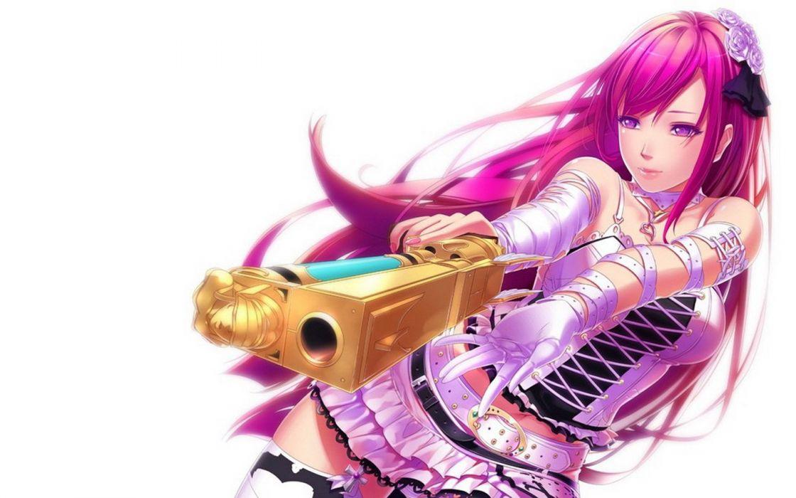 Anime Girls Bangs Bare Shoulders Belts Choker Collar Bone Ecchi Gloves Guns Hair Ornaments Long hair pink wallpaper