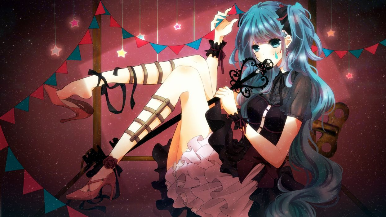 anime girls aqua eyes aqua hair bangs bows cuffs dress hair ornaments Hatsune Miku keys lolita fashion long hair sitting stars tears twintails Vocaloid wallpaper