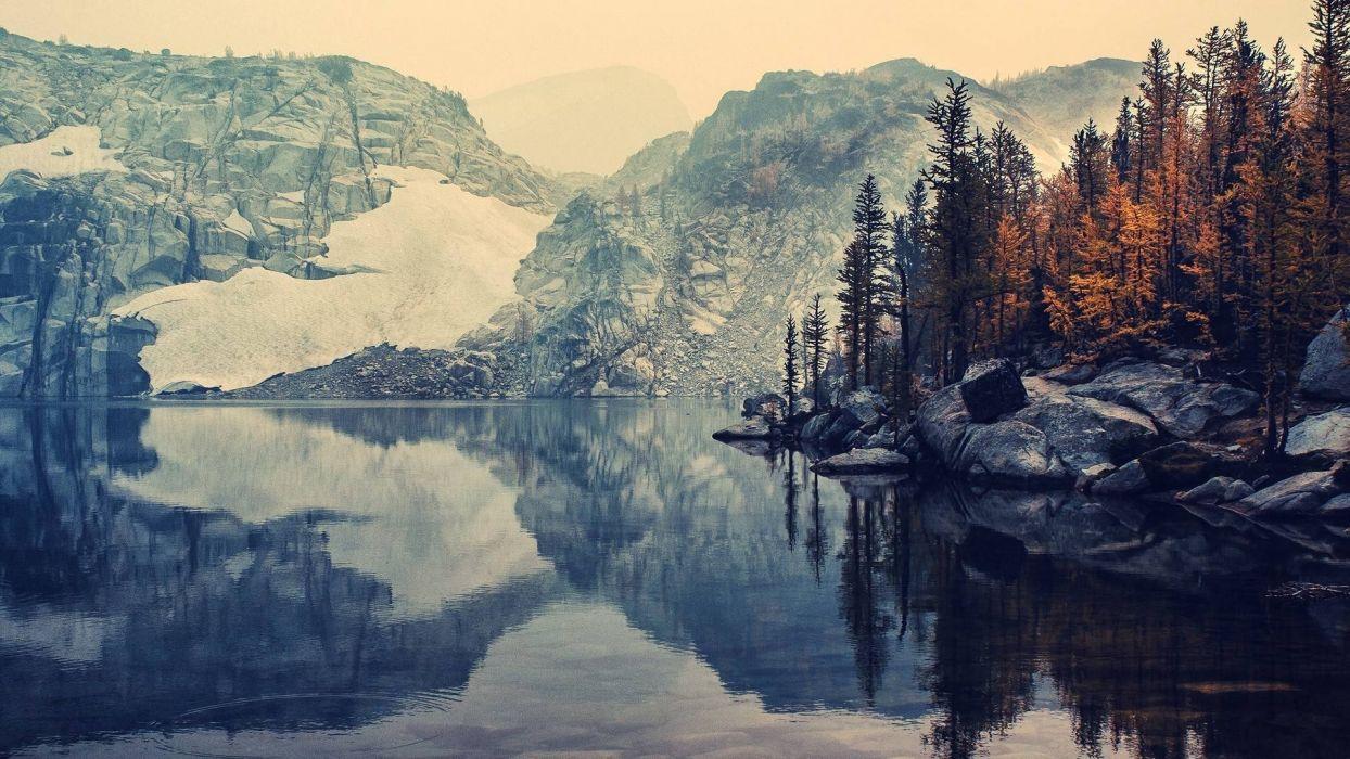 lake mountain snow wallpaper