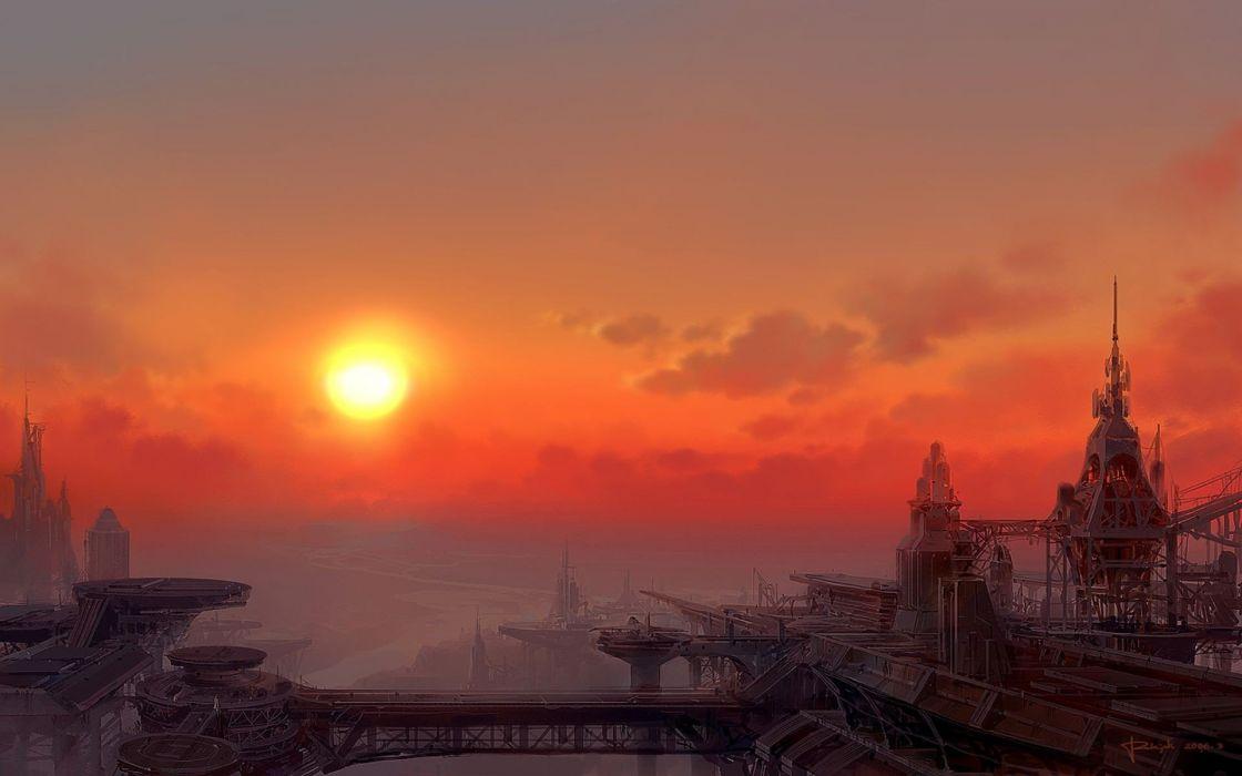 Art Fantasy sun sky wallpaper