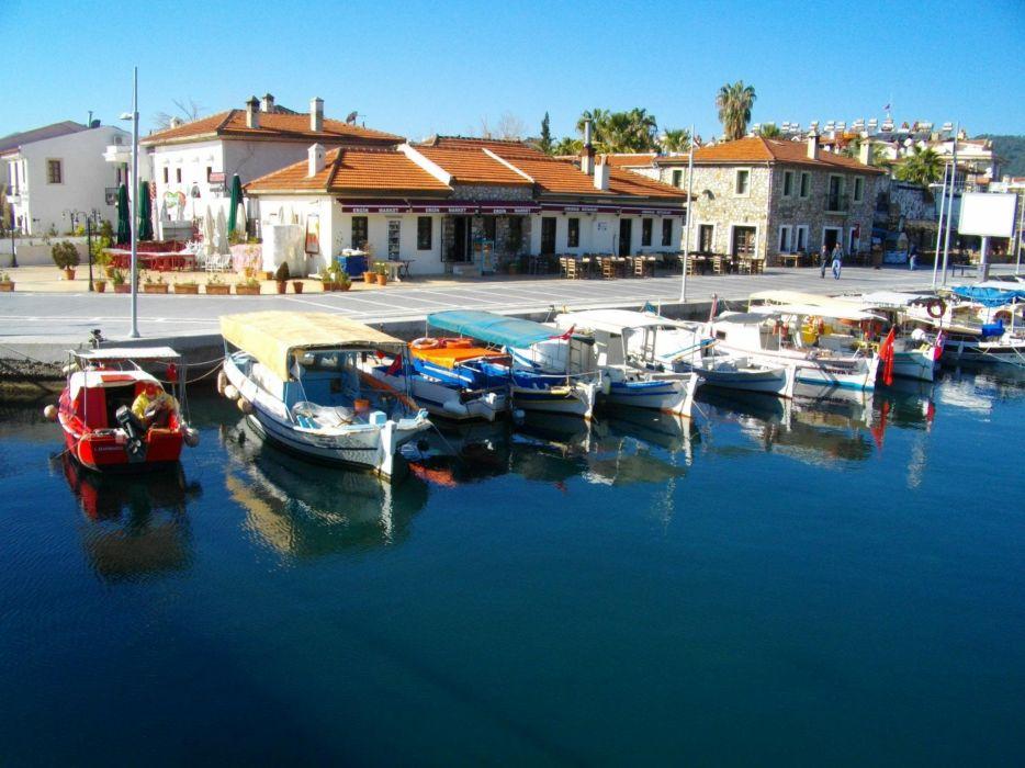 sea beauty Marmaris Turkey Boats wallpaper