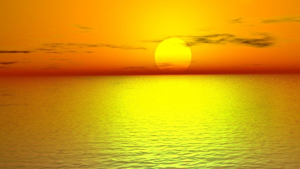 sun nature sea beauty ocean red sky wallpaper