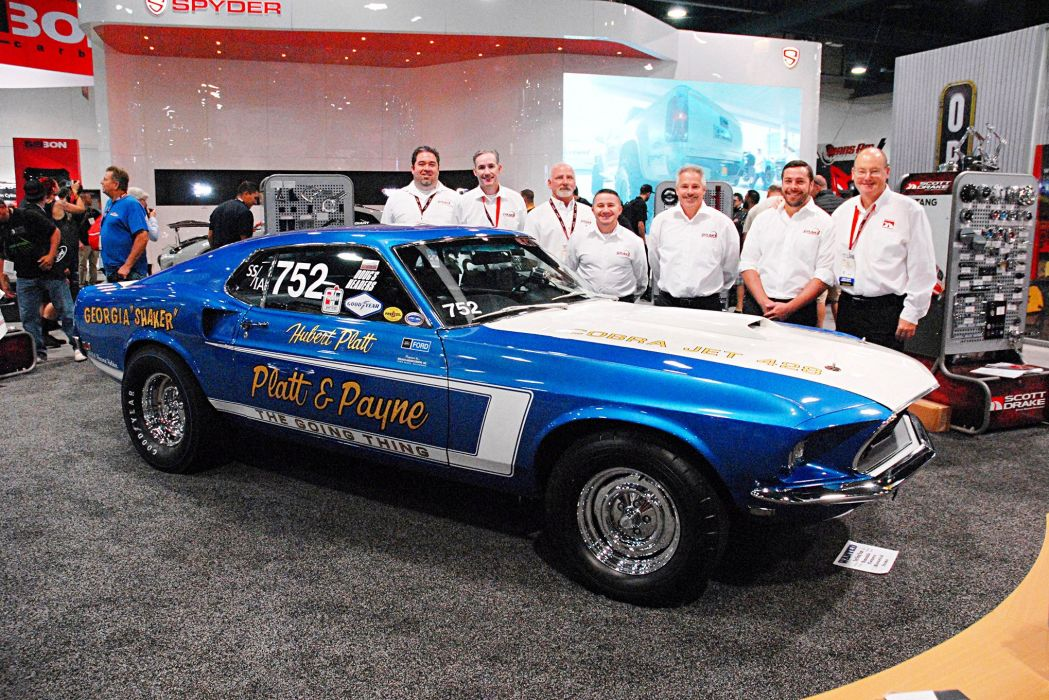 1969 Ford Mustang Cobra Jet cars blue drag wallpaper