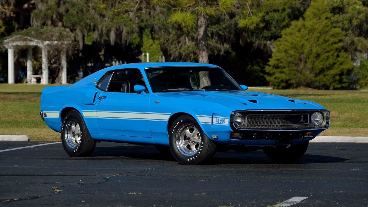1969 SHELBY GT500 FASTBACK Super Cobra Jet cars blue wallpaper