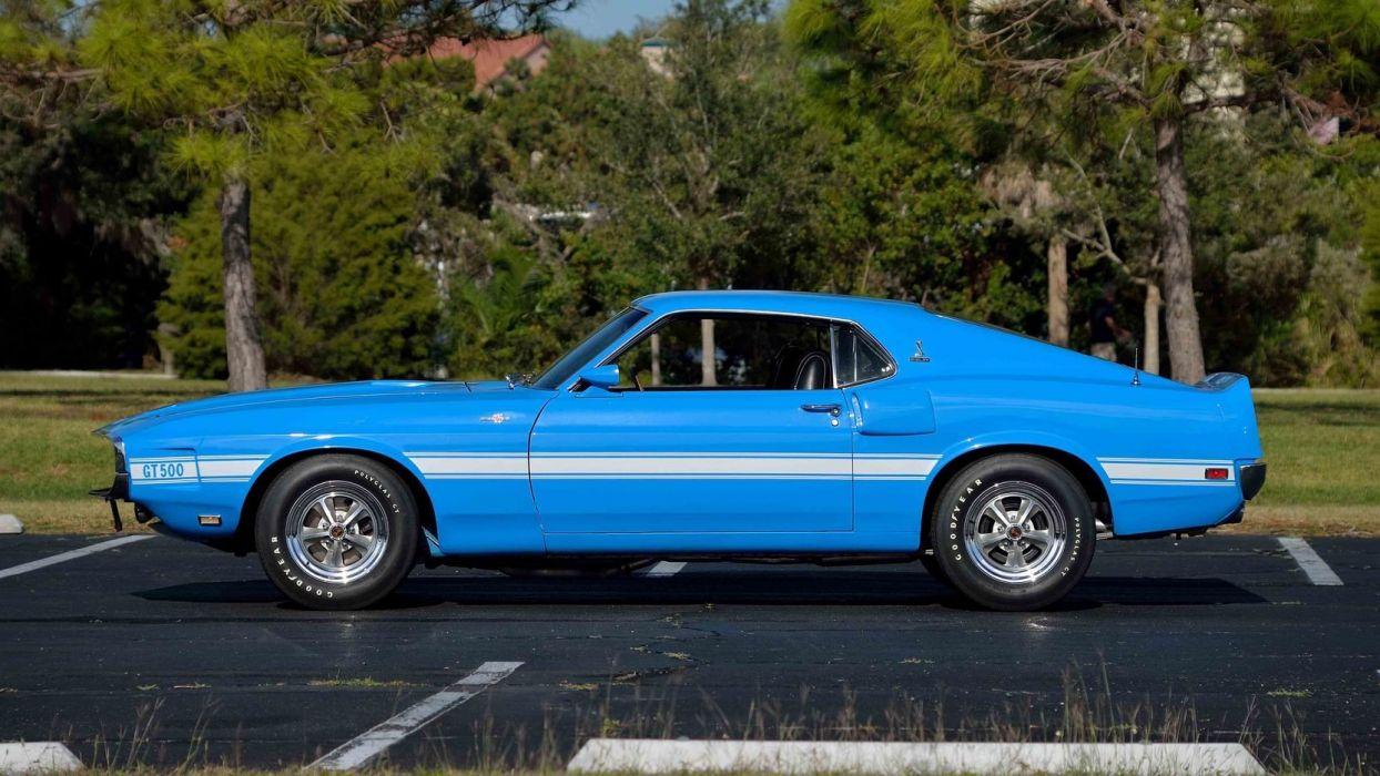 1969 SHELBY GT500 FASTBACK Super Cobra Jet cars blue wallpaper