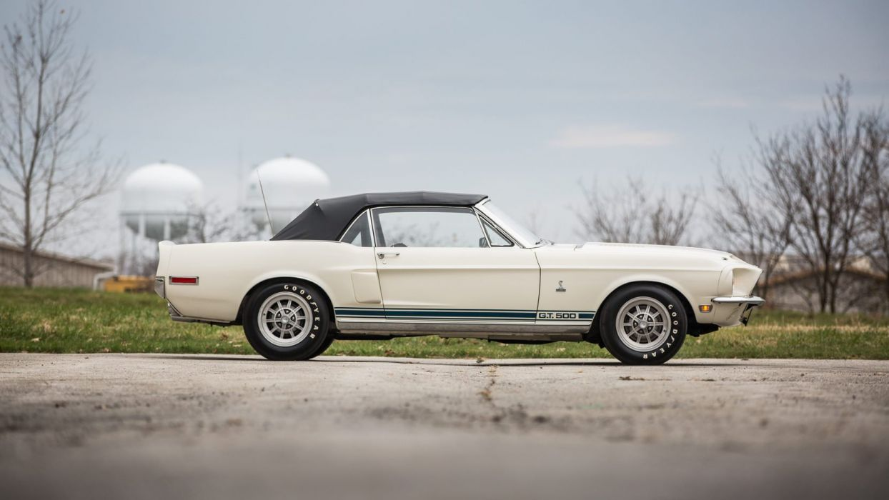 1968 SHELBY GT500 CONVERTIBLE cars white wallpaper