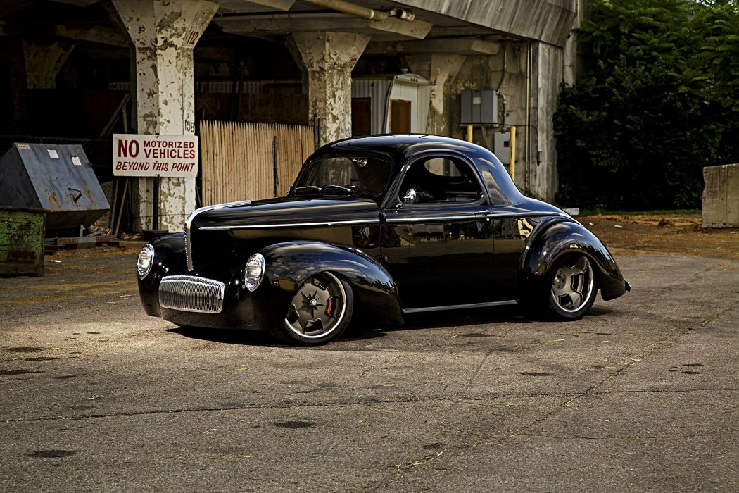 1941 Willys cars coupe black Street  wallpaper