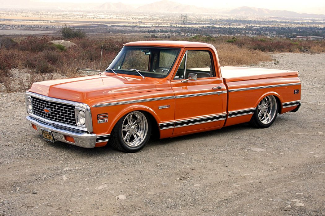 1972 Chevy Cheyenne pickup truck orange wallpaper
