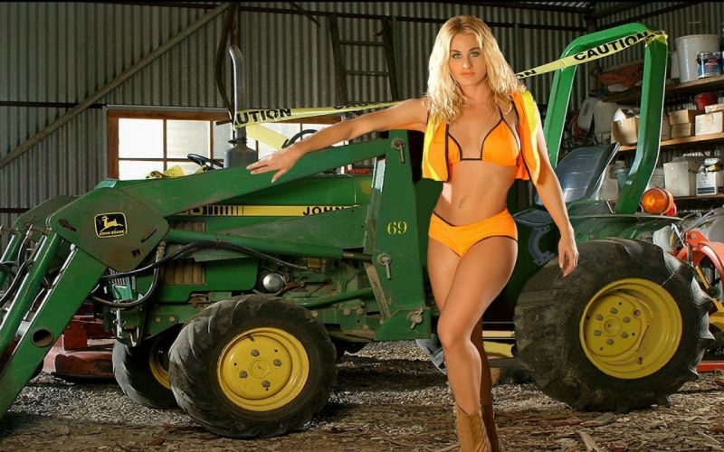 Cowgirl-And-Her-Tractor wallpaper