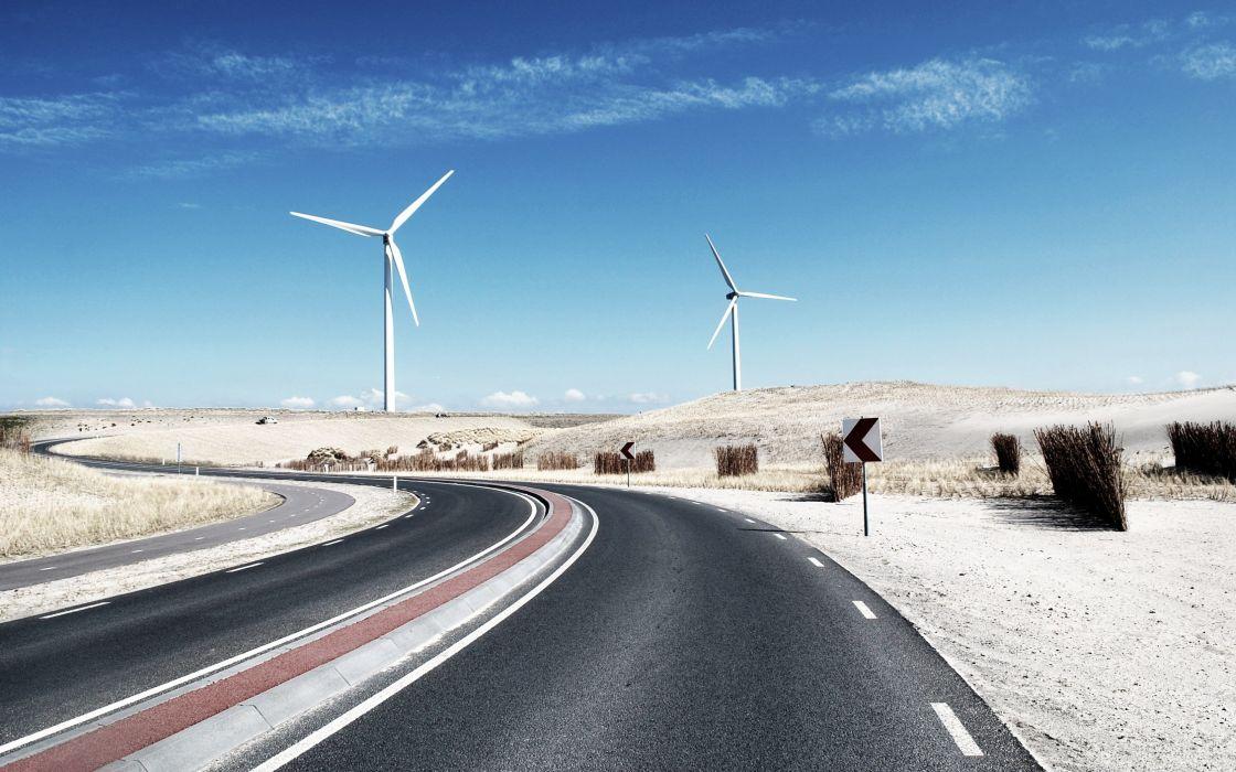 carretera molinos aerolicos desierto wallpaper