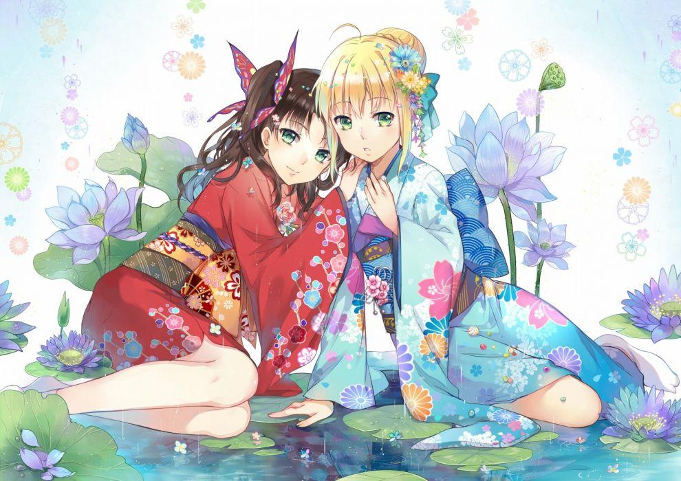 anime series fate stay night zero characters group girls kimono flower blonde wallpaper