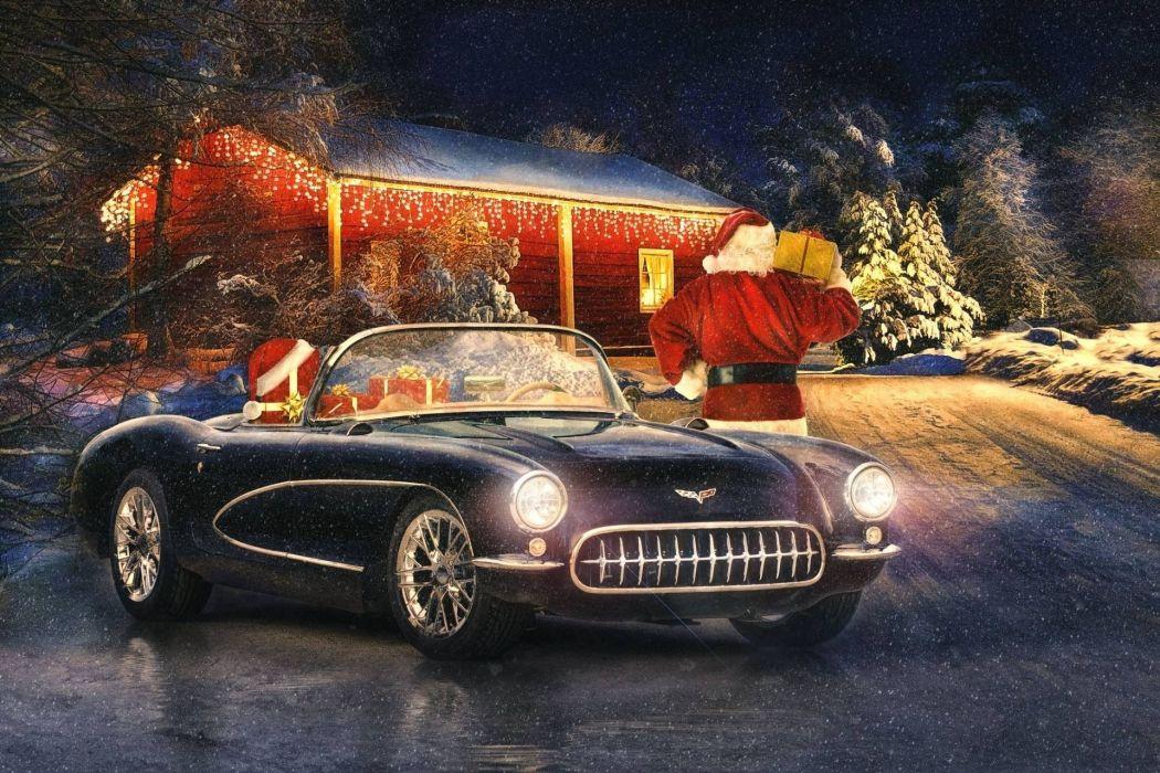 Santa's Cool Ride wallpaper