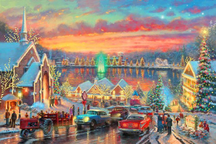Tha lights of Christmas town wallpaper