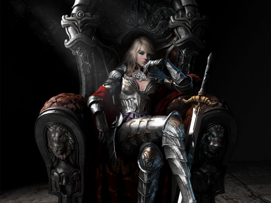fantasy Art woman blonde warrior sword wallpaper