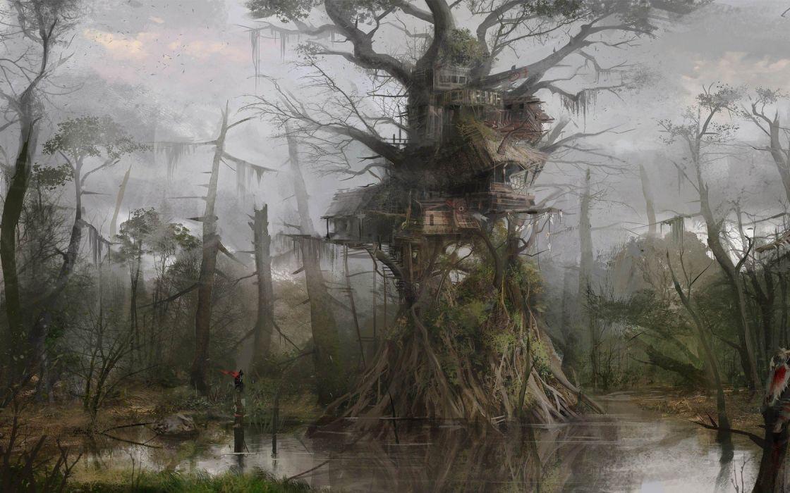 fantasy Art tree house wallpaper