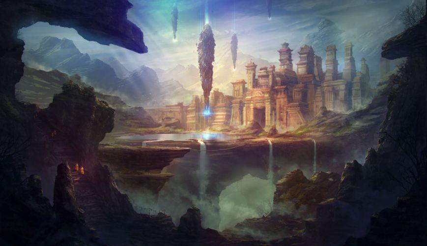artwork fantasy Art nature Ruin spaceship wallpaper