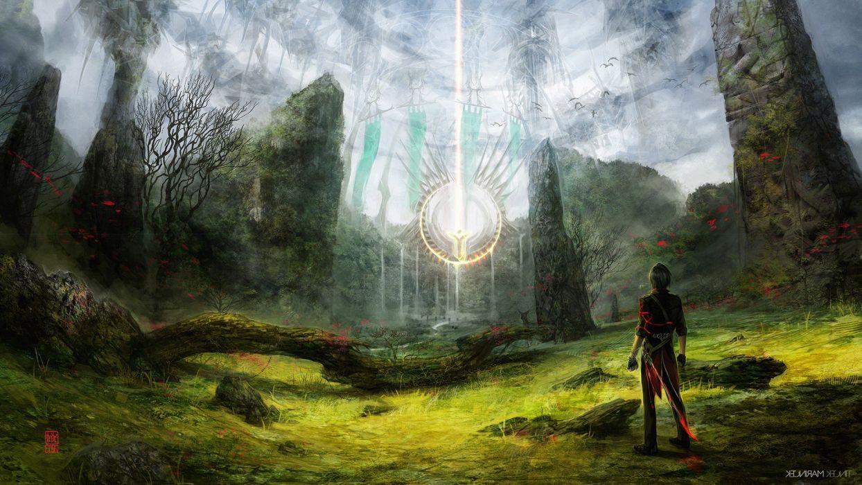 guy forest fantasy Art wallpaper
