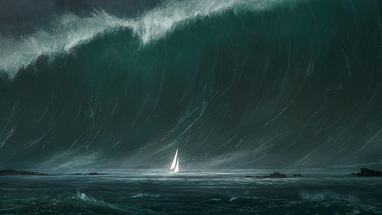fantasy Art wawe water sea ocean beauty wallpaper