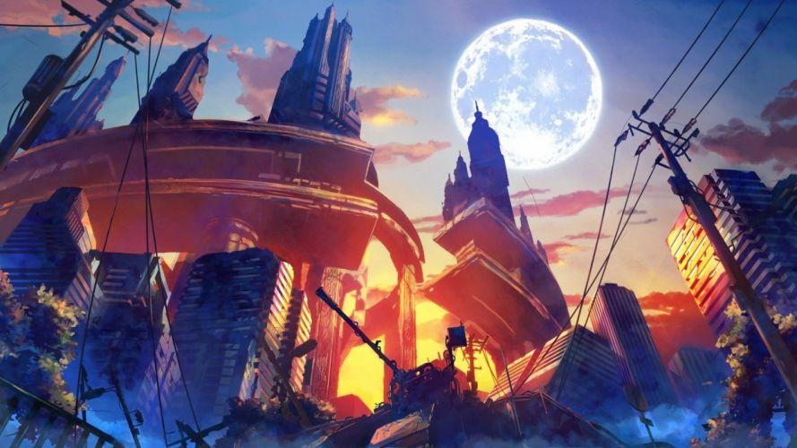 anime artwork destruction fantasy Art wallpaper
