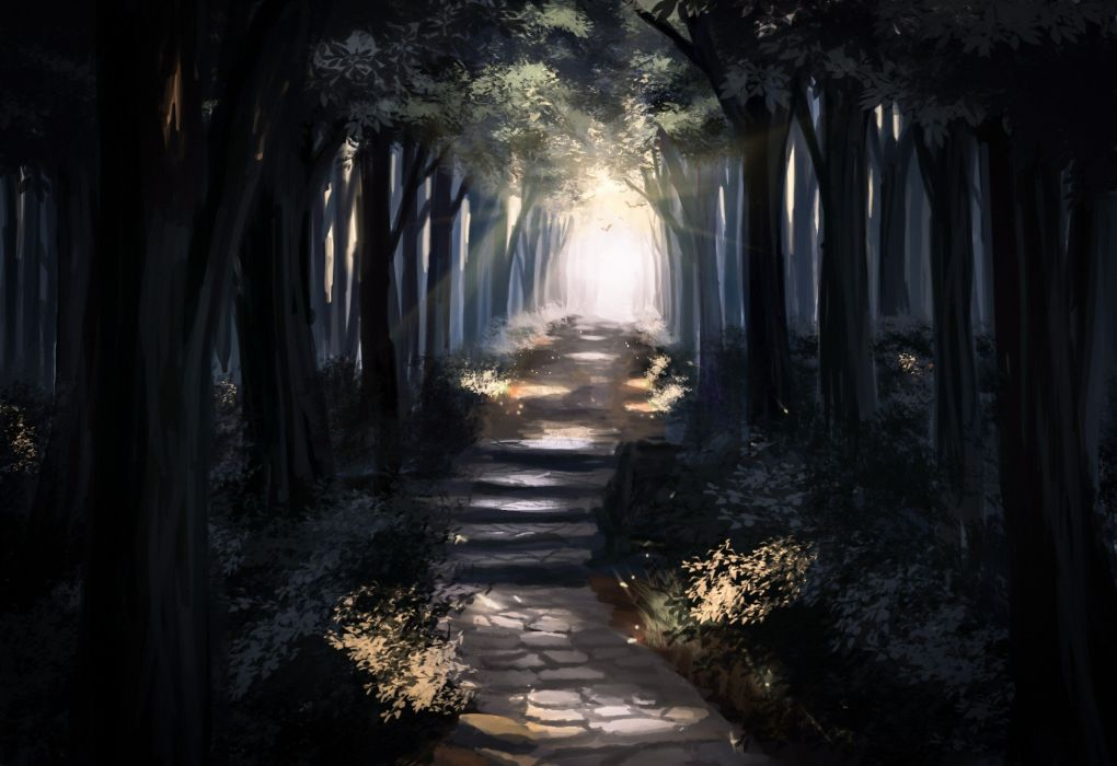 anime forest landscape path Trees wallpaper