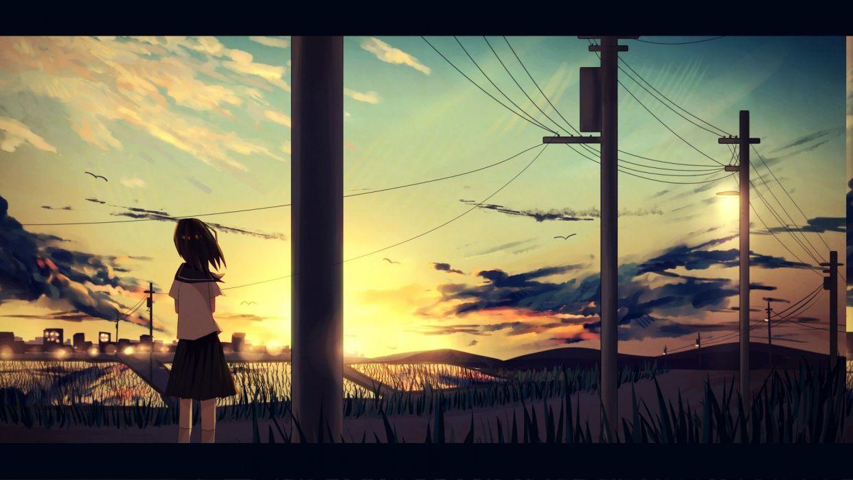 girl schoolgirl sunset sky anime wallpaper
