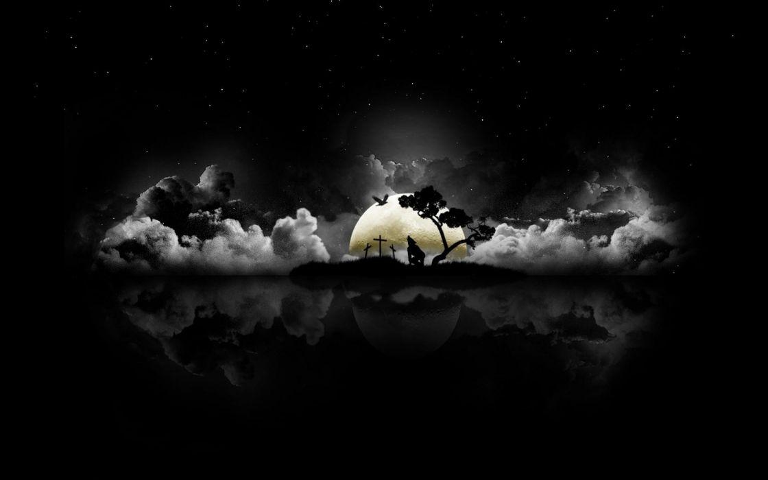 abstracto dark cementerio noche hombre lobo luna wallpaper