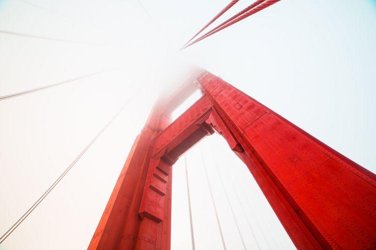 pillar golden gate bridge red covered fog picjumbo wallpaper