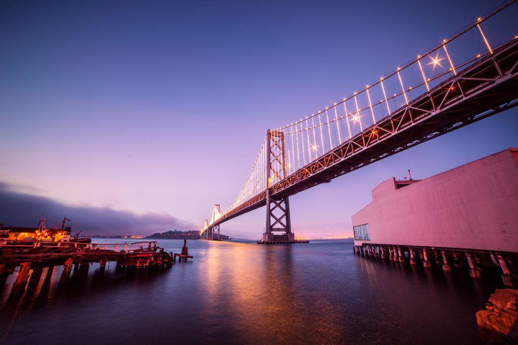bay bridge with treasure island san-francisco night picjumbo  wallpaper